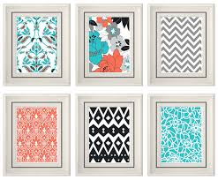 set of six modern vintage coral turquoise wall art print set