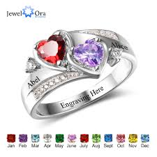birthstone ring for promise ring personalized engrave name custom heart birthstone ring