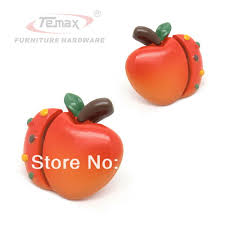 Bedroom Furniture Pulls And Handles Cartoon Red Apple Type Cabinet Gate Dresser Kids Children
