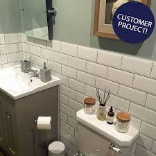 White Tile Bathroom by Bevelled Brick White Gloss Wall Tiles Retro Metro Tiles