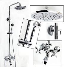 Handheld Bathtub Faucet Exposed Wall Mount Shower And Tub Filler Faucet Set With Large