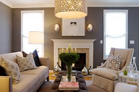 chic grey living room design with grey purple wall paint colour