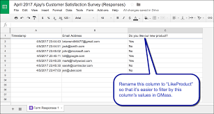 Form To Google Spreadsheet Use Google Forms And Gmass To Send Surveys And Follow Up Emails