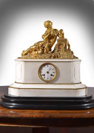 Metal Mantel Clock A French Gilt Metal Mounted White Marble Mantel Clock 1880 France
