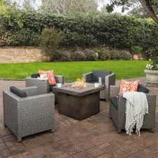 patagonia outdoor 4 pc wicker club chair set with firepit u2013 gdf studio
