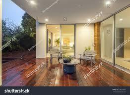 wooden deck balcony night furniture open stock photo 535657690