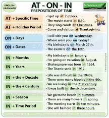 prepositions of time at on in grammar notes