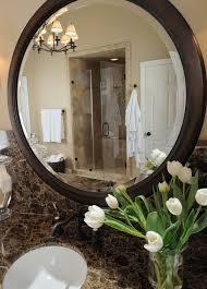 Circle Bathroom Mirror Emperador Dark Marble Threshold Bathroom Traditional With Dark