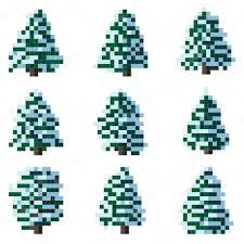 set of pixel winter snowy tree u2014 stock vector vertyr 18172297