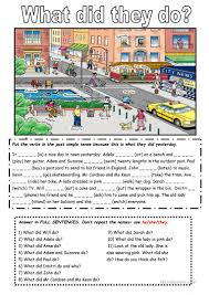the past simple tense with a picture worksheet free esl