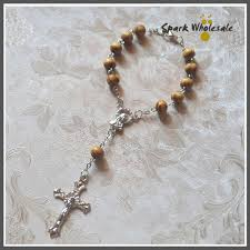 christian rosary 50pcs lot catholic 8mm pine wood rosary bracelet communion baptism