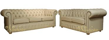 Chesterfield  Cream Leather Sofa Offer Leather Sofas - Cream leather sofas