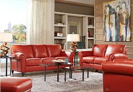 Cindy Crawford Home Lusso Papaya Leather  Pc Living Room - Red leather living room set