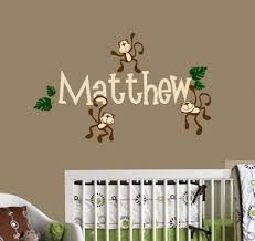 monkeys with personalized name nursery wall decal vinyl sticker