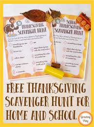 free thanksgiving scavenger hunts for home and school growing play