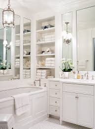 Built In Bathroom Cabinets Thassos Countertop Bathroom Traditional With Built In Shelves