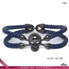 skull bracelet charm images 14 20mm wide skeleton leather bracelet fashion jewelry mens jpg