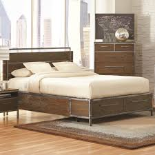 Eastern Accents Bedsets Arcadia Industrial Queen Platform Bed Pewter Coated Metal Accent