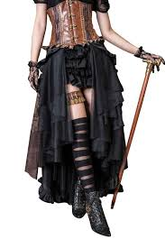 halloween costume steampunk steampunk victorian punk cincher lace up long ruffle skirt
