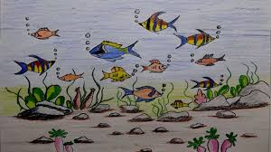 learn how to draw a scenery of ocean bottom sea bottom drawing