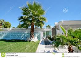 mid century modern home stock photo image of roof lawn 65108654