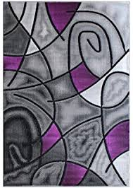 Black And Purple Area Rugs T1014 Purple Black White 5 2 X 7 2 Floral