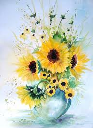 Vase Of Sunflowers Vase Of Sunflowers Watercolor By Maria Leonarda Ascencio