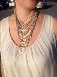 natural beads necklace images Beige knitted necklace boho chic beads rustic wedding beads jpg