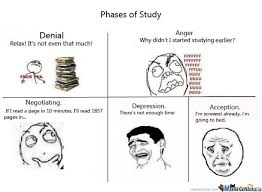 Funny Study Memes - 5 phases of study by r0ckangel meme center