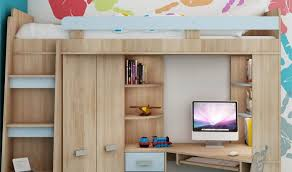 combiné lit bureau lit surelevé enfant avec rangement bureau et armoire intégré