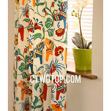 Patterned Window Curtains Organic Chic Cotton Soundproof Beige Multi Color Patterned Bay