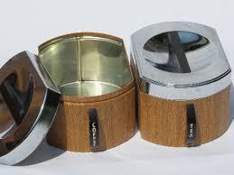 wooden kitchen canister sets mod 60s wood grain vintage kromex metal kitchen canisters set