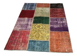 Patchwork Area Rug Dyed Vintage Turkish Patchwork Area Rug 4 5 11 Touchgoods