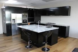 decoration black kitchen cabinet and kitchen island with