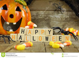 halloween candy background happy halloween wooden blocks with candy corn and decor stock