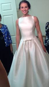 hepburn style wedding dress wedding dress shopping apbride checks in aisle