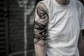 mens half sleeves tattoos 67 mountain tattoos on sleeve