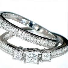 princess cut wedding set heart diamond ring bridal set wedding set real diamond ring