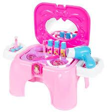 Childrens Bedroom Vanities Kids Toy Vanity Cosmetic Pretend Playset With Mirror U0026 Working