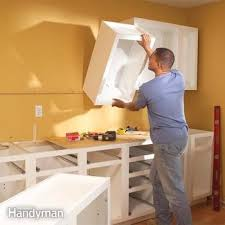 how are cabinets in a kitchen how to install kitchen cabinets diy family handyman
