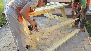 How To Make Picnic Bench Diy Picnic Table With Built In Cooler The Home Depot