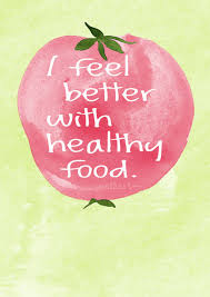 sprüche karten i feel better with healthy food illustrated lettering card