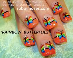 nail by robin moses rainbow butterflies nail design