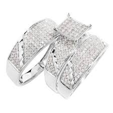 wedding ring trio sets wedding trio wedding ring set carat diamond 14k white gold