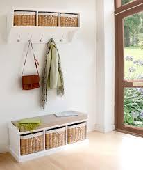 Hallway Bench Storage by Tetbury White Coat Hanger With 3 Natural Wicker Baskets Hallway