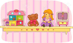 on the shelf doll illustration of a shelf holding a teddy a doll house a