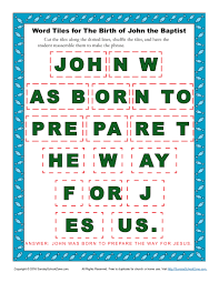 the birth of john the baptist word tiles children u0027s bible john