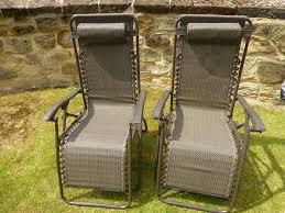 Metal Reclining Garden Chairs Set Of 2 Garden Chairs Brown Sun Lounger Recliner Chair