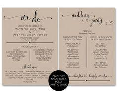 ceremony program template printable wedding program template rustic wedding fan program