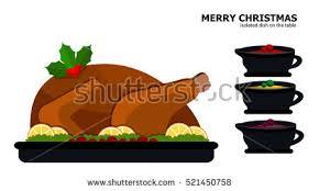 Turkey On The Table Seasonal Dinner Table Setting Vector Download Free Vector Art